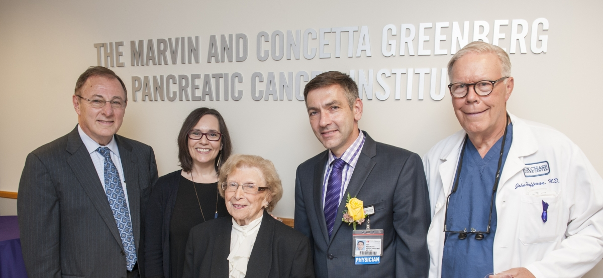 Concetta Greenberg, center, provided a generous donation to Fox Chase Cancer Center dedicated solely to pancreatic cancer research. (Left to right) Richard I. Fisher, President and CEO of Fox Chase Cancer Center, Edna Cukierman, Igor Astsaturov, and John Hoffman all thanked Greenberg at the Institute's unveiling ceremony in 2017.