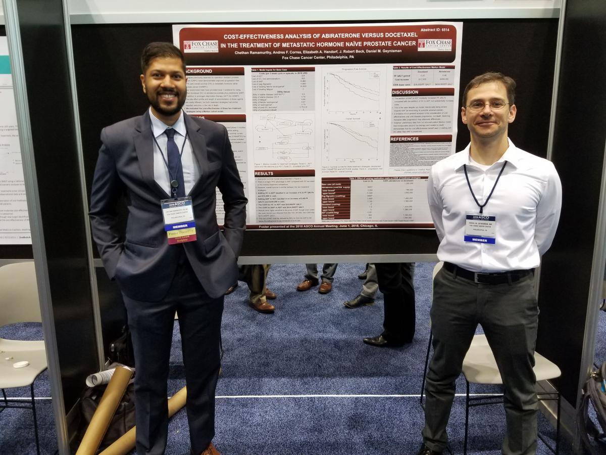 Graduating Fellow Chethan Ramamurthy, MD, and his mentor Daniel Geynisman, MD, at ASCO in 2018 presenting Chethan's merit award poster. Photo courtesy of: Elizabeth Plimack