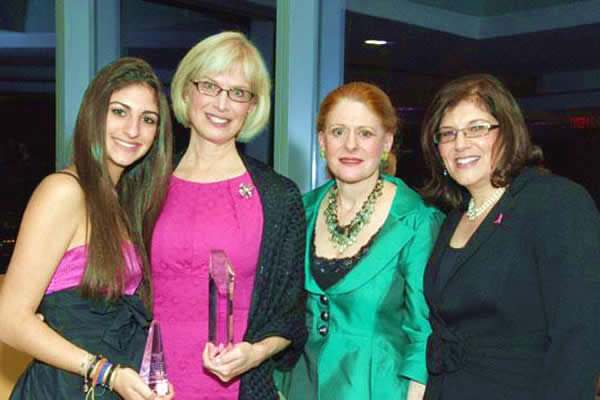 Barbara's daughter, Eliza, her surgeon, Marcia Boraas, Susan G. Komen Philadelphia CEO, Elaine Grobman and Barbara at a benefit.