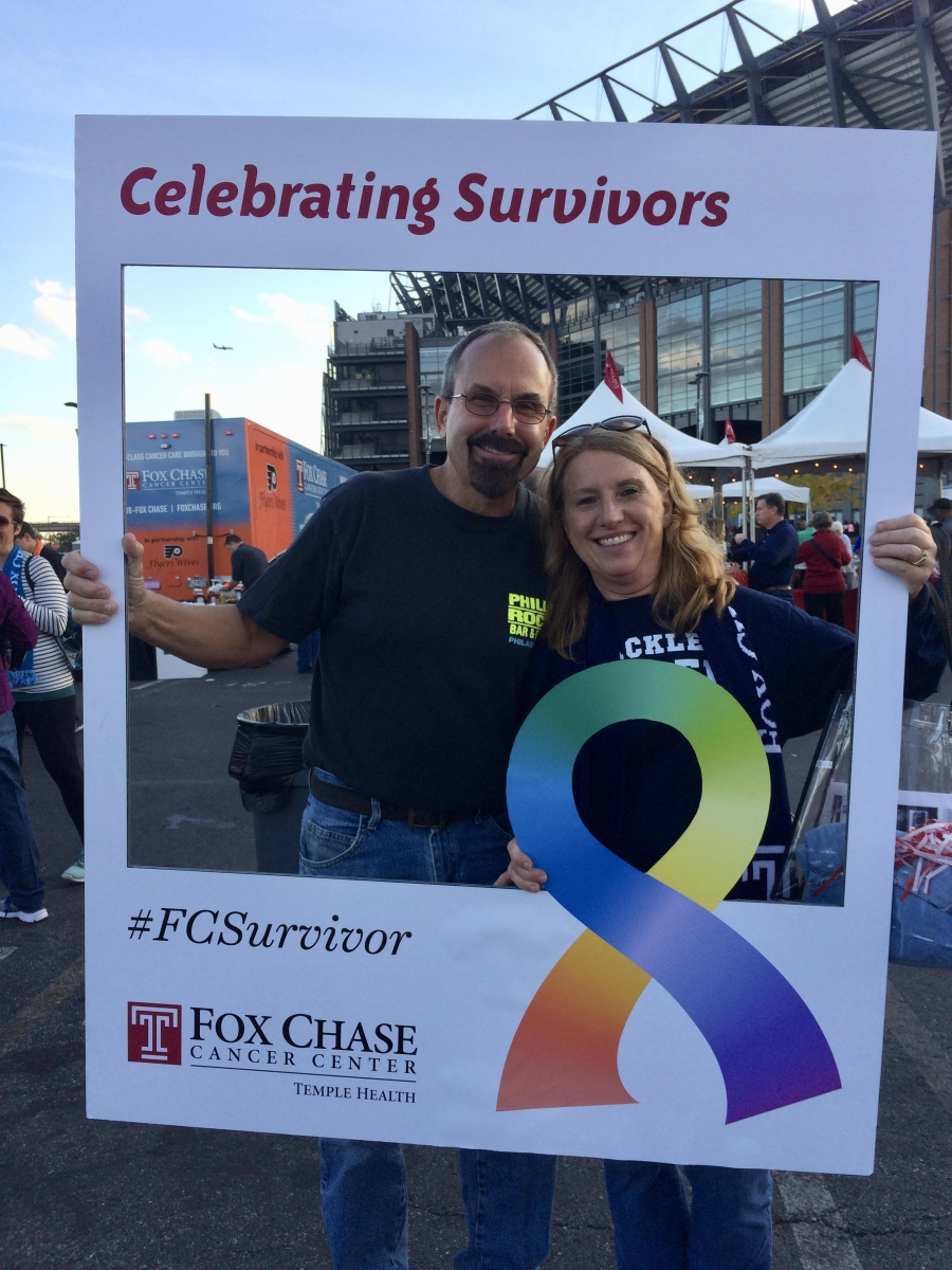 Colon cancer survivor Debbie Lech and her husband Claus attend Survivors' Day 2018 at Lincoln Financial Field.