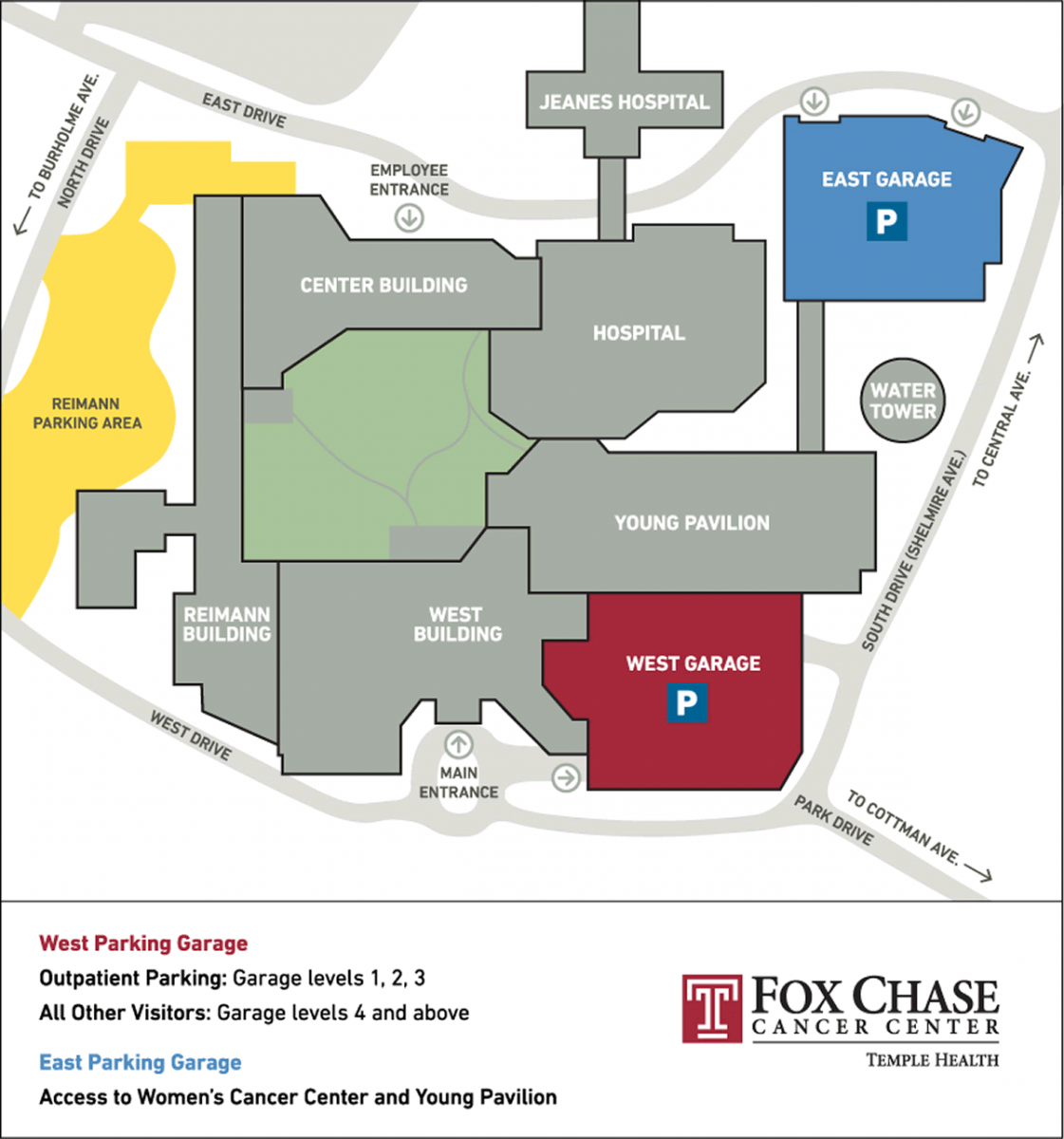 Parking map for Fox Chase Cancer Center