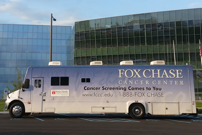 The Mobile Screening Unit, supported by the Flyers Wives Charities, enables Fox Chase to reach communities throughout the Greater Philadelphia region.