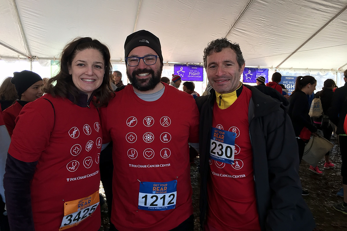 Fox Chase Drs. Crystal Denlinger, Jeff Farma, and Josh Meyers at the 2015 Get Your Rear in Gear.
