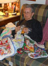 Genevieve enjoys crocheting items for her family.