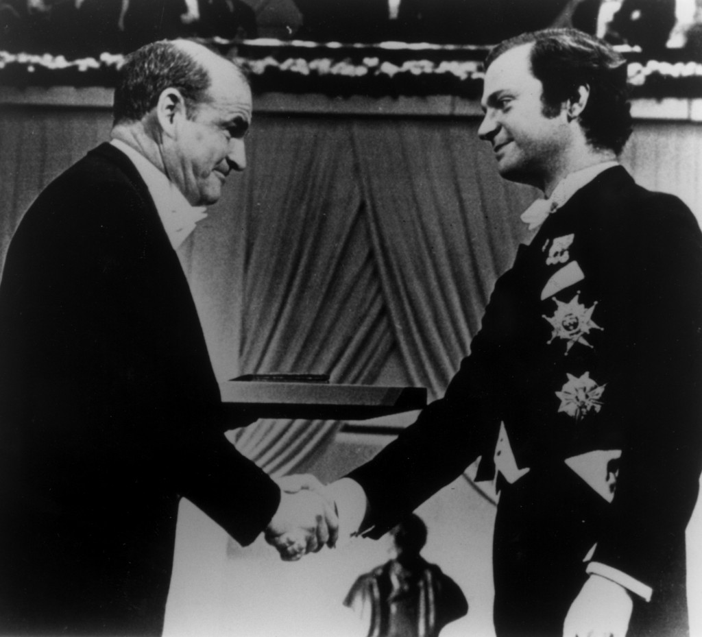 Dr. Blumberg at the Nobel ceremony, 1976