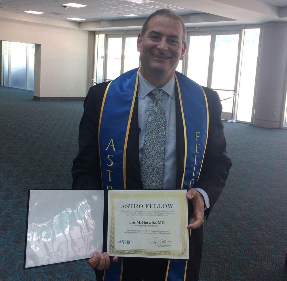 Eric M. Horwitz poses with his certification of his fellowship into ASTRO on Sept. 26. 2017.