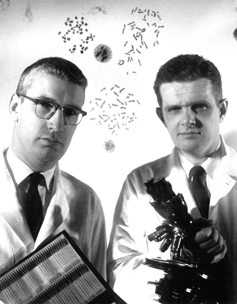 Peter C. Nowell (left) and David A. Hungerford, 1961
