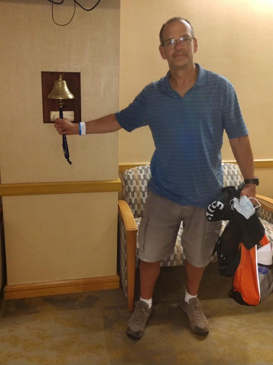 Robert ringing the bell after his final chemotherapy treatment!