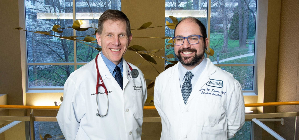 Anthony Olszanski (left) and Jeffrey Farma work with a team of melanoma specialists to design comprehensive treatment plans, from recognizing early signs to providing surgical treatments, for Fox Chase patients.