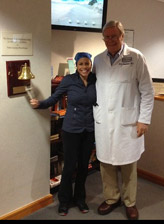 When Linda completed chemotherapy, she was joined by her surgeon, Dr. Hoffman, to ring the bell.