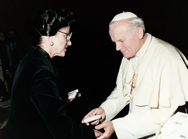 Dr. Mintz and Pope John Paul II in 1986, when the Pope invited her to serve on the Pontifical Academy of Sciences — an elite group of the most respected names in science.