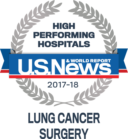 U.S. News & World Report High Performing Hospital for LungCancer Surgery