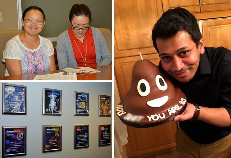 Top left, Lanlan Zhou and Shuai Zhao. Bottom left, Journal Covers displayed outside the El-Deiry lab. Right, Prashanth Gokare pictured with his birthday cake.