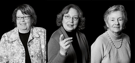 The Pioneers (Left to right: Jenny Glusker, Ann Skalka, & Mary Daly). Photos by: Jim Graham