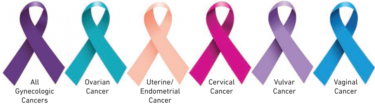 Gynecological cancer ribbons