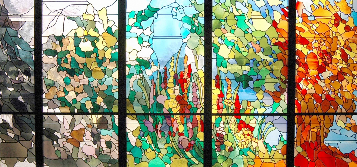 """The Seasons,"" the stained glass window created by Willet Studios for the Chapel at Fox Chase Cancer Center."