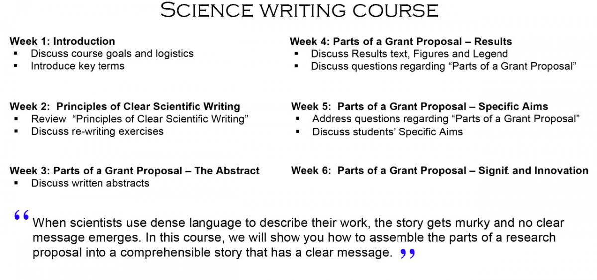 Postdoc Science Writing Course