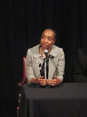 Fox Chase health disparities researcher Camille Ragin, PhD, answers questions about being a scientist of color at a panel discussion at the Franklin Institute on March 23, 2012.