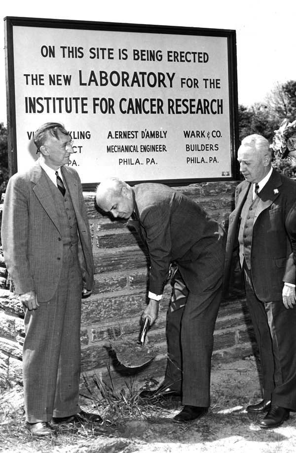 Groundbreaking on the Institute for Cancer Research, 1947. Stanley Reimann (left). Philip T. Sharples, a trustee of Jeanes Hospital and the first president of the institute, holds the first shovelful of dirt. The ICR became the research arm of Fox Chase.