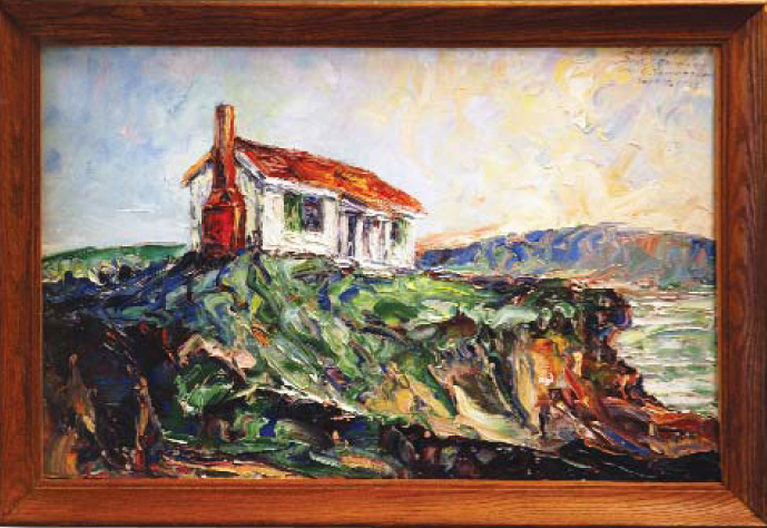 The Marine Experimental Station, which operated in the 1930s and '40s in North Truro, Massachusetts, is depicted in this painting, believed to be by scientist Stanley P. Reimann, a prominent figure in Fox Chase's founding. The painting hangs in the Center's Talbot Research Library. (photos courtesy of Talbot Research Library)
