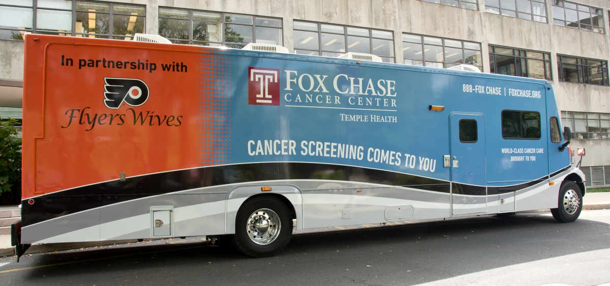 In partnership with the Flyers Wives, the Fox Chase Cancer Center Mobile Screening Unit (MSU) brings cancer screening to our communities. The MSU is the only one of its kind associated with an NCI Comprehensive Cancer Center in the Delaware Valley.