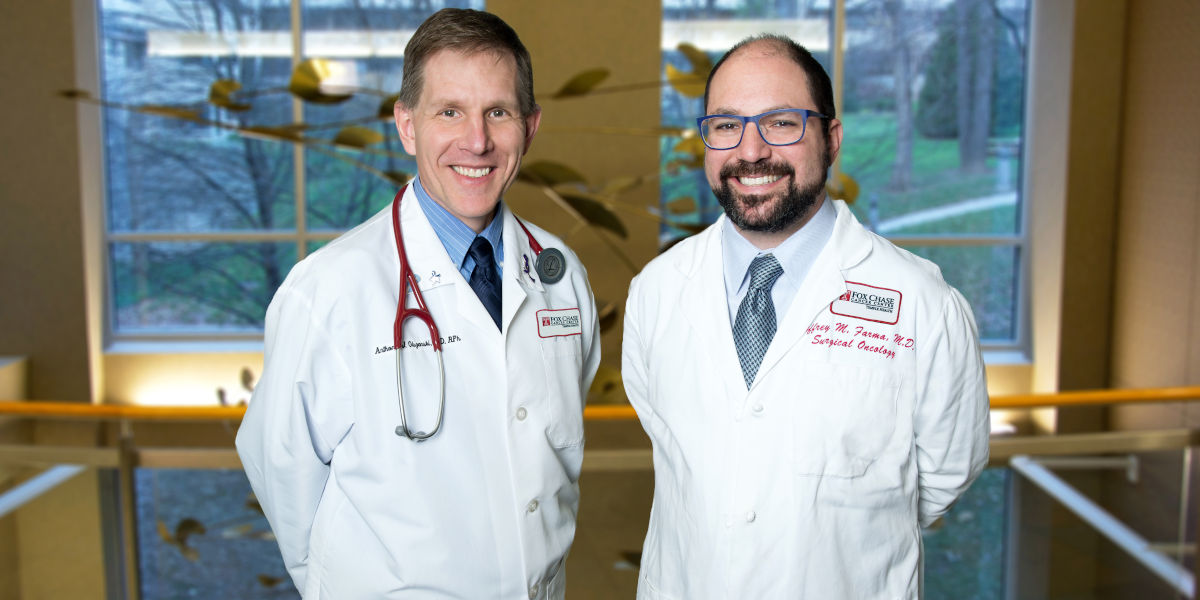 Anthony J. Olszanski, MD, RPh (left) and Jeffrey M. Farma, MD, FACS serve as co-directors of Fox Chase Cancer Center's Melanoma and Skin Cancer Program.